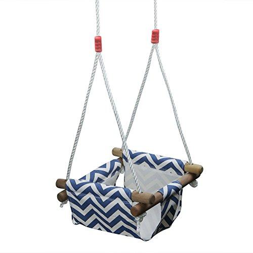 Pellor Outdoor Indoor Kinder Schaukel Hängesessel Hängesitz hängematte Schaukel mit Einstellbare Seil Kleinen Korb (Blau)