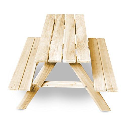 Kinder Picknick-Tisch 90 cm mit 2 Sitzbänken - wetterfester Spieltisch für Kinder für innen und außen - Gartentisch mit abgerundeten Ecken und Kanten