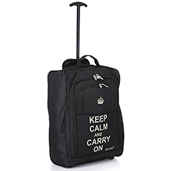 5Cities 50cm Lightweight Trolley Hand Luggage Bag - Approved Ryanair & Easyjet 2 Wheel Cabin Carry On Board Baggage. 42L Travel Suitcase Bag with Padlock. (50CM, Keep Calm)