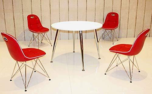 fws24 Tischgruppe im Stil der fünfziger Jahre - Esstisch rund weiß/Chrom und 4 Stühle rot/weiß