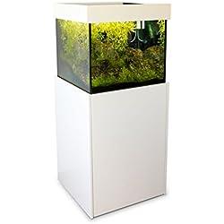 Axperto Design-Aquarium 60x60x57 weiß als Süß- und Meerwasser-Aquarium 200 l (Cubus Süßwasser beschichtet), Komplettset mit Unterschrank