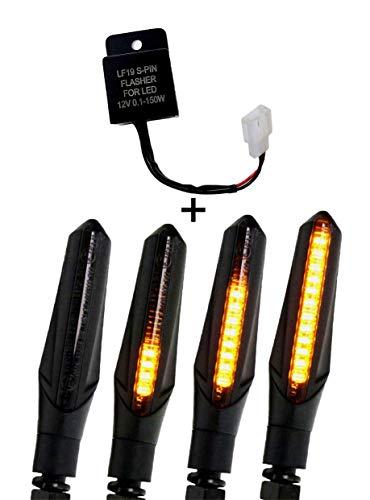 2 Stk SimdaPro Led Motorrad Laufeffekt Blinker mit Relais Lauflicht Sequentiell schwarz Universal (2)