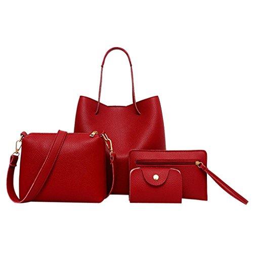 WINWINTOM Moda Bolsos para Mujer, Casual Bolsos de Totes Mano, 4PCS Mujer Patrón Bolso + Bolso Crossbody + Bolsa de Mensajero + Paquete de Tarjeta (Rojo)