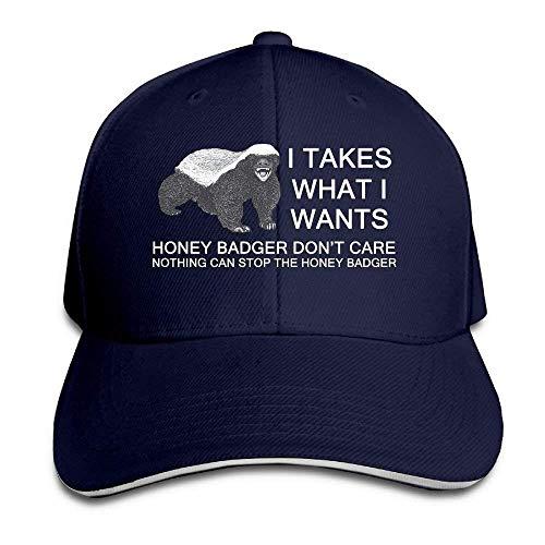 Osmykqe I Takes What I Wants - Honey Badger Classic 100% Cotton Hat Caps Unisex Fashion Baseball Cap Adjustable Hip Hop Hat(6 Colors) ABCDE06147