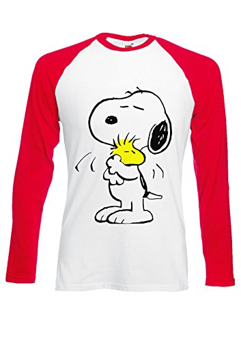 Snoopy PEANUTS Cartoon Happy Cute Red/White Men Women Unisex Long Sleeve Baseball T Shirt-XL -