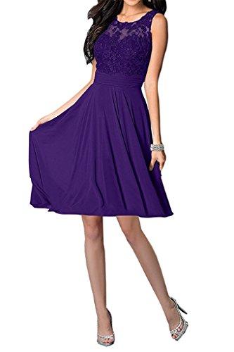 Carnivalprom Damen Abendkleider Mit Applikationen Elegant Rundhals Ballkleid Brautjungfernkleider Kurz Partykleid Violett