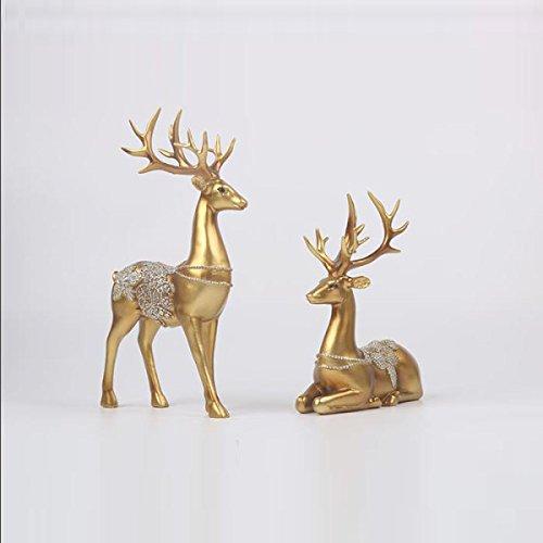 CTAO Resin Deer Home Ornamente Europäische Vintage-Stil Liebhaber Deer Stehend Und Sitzen Dekorative Hirsche Creative Decor Crafts,Gold -