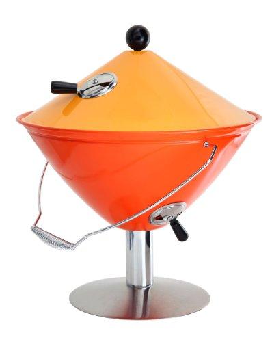 Idelice CU497 859A Barbecue à Charbon Nomade Forme Conique pour 2/3 Personnes Inox/Bois Orange/Orange Sanguine