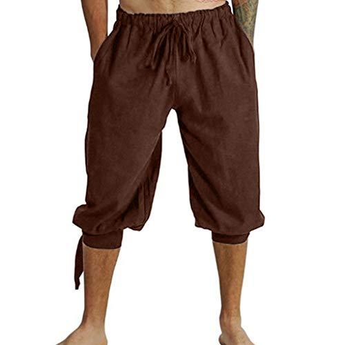 Herren Mittelalterhose Wikinger Kostüm Lose Knielang Freizeit Kurze Hose Einfarbig Strand Sporthose Übergröße - Kostüm Mit Kurzen Hosen