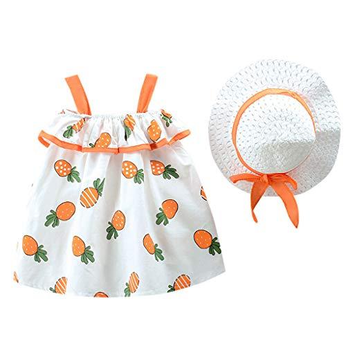 Livoral Mädchen Obst Print Prinzessin Kleid + Hut Kleinkind Kinder Baby Kostüm Set(Orange,100)