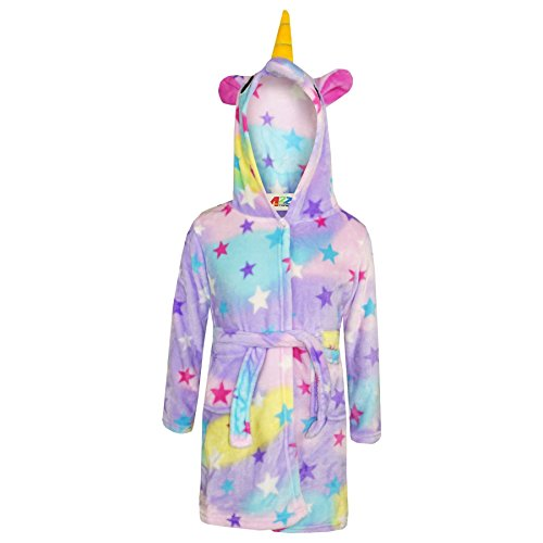 A2Z 4 Kids® Mädchen Jungen Bademantel Sterne Druck Kinder Tier - Bathrobe Unicorn Stars Print_13
