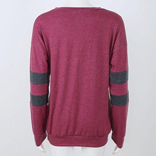 OVERDOSE Frauen Langarm Rundhals Splice-Hemd-Bluse Tops T-Shirt X-Red