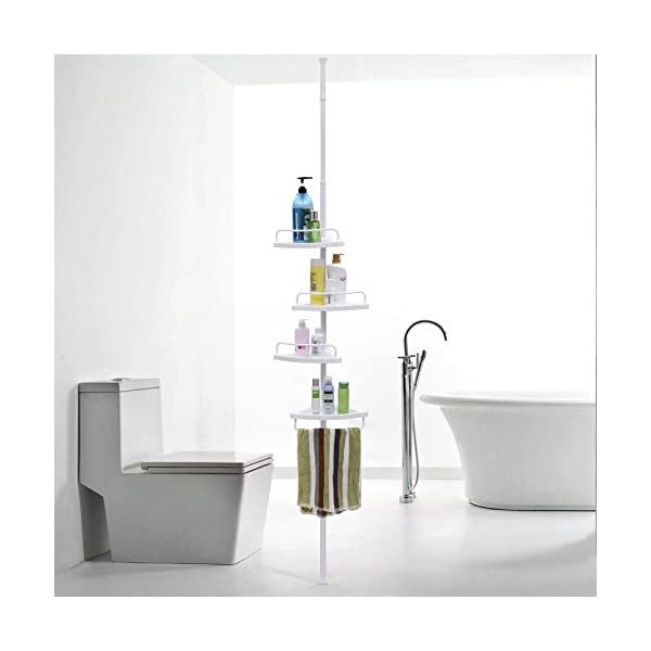 Songmics Adjustable Bathroom Corner Shelf Telescopic Shower Caddy 85 305 Cm Floor To Ceiling With 4 Trays 3 Hooks White Bcb001a