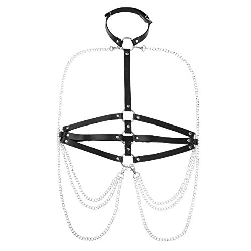 CHICTRY Damen Gothic Kostüm Punk Brust Harness Körpergeschirr Leder Optik Brustgurte Geschirre Wetlook Oberteile mit Metallic Kette und O-Ring Schwarz (Typ C) Einheitsgröße