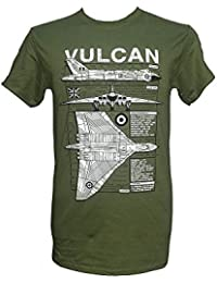 Avro Vulcan Heavy Bomber - Falklands War / Green Military T Shirt with blueprint design