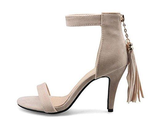 SHINIK Lady Pumps Tassel Open-Toed Sandales à talons hauts Fine Suede Shoes Court Shoes apricot
