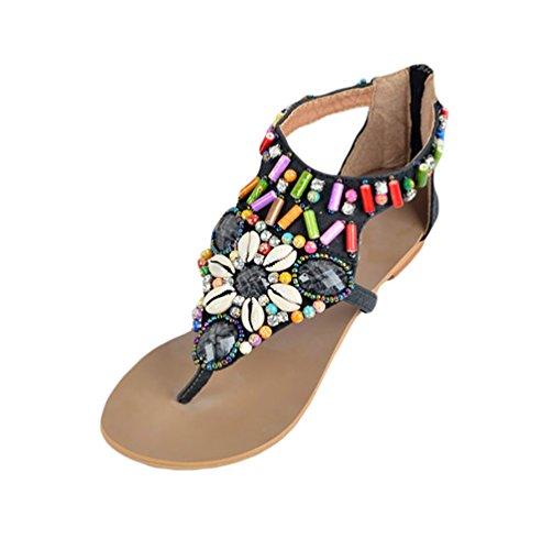NiSeng Femme Bohême Sandales Plat T-Strap Nu-Pieds Femme Strass Chaussures De Plage Été Vintage Peep Toe Tongs Flip Flops Noir