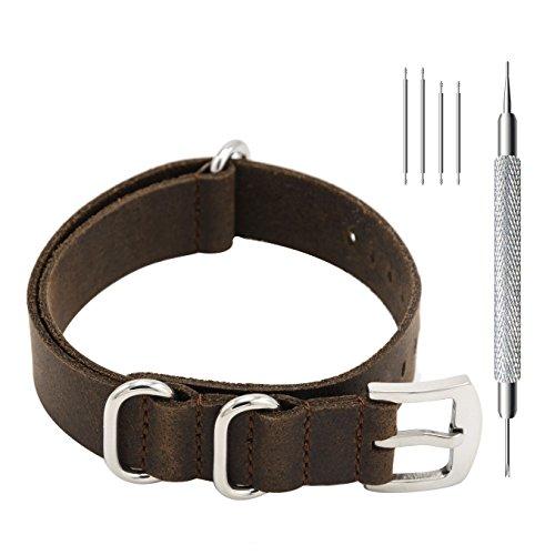 CIVO Uhrenarmbänder Echte Crazy Horse Leder Uhrband Handarbeit NATO Zulu Militär Schweizer G10 Stil Uhrenarmband 20mm 22mm (20mm, Dunkelbraun)