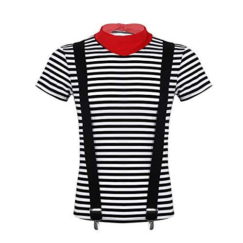 Kostüm Mime Halloween - YOOJIA 5Pcs Herren Französische Pantomime Kostüm Mime Künstler Theatrischer Zirkus Performer T-Shirts Outfit Halloween Cosplay Kostüm Schwarz Large