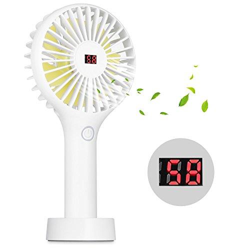 Homehod USB Ventilator Tragbarer Persönlicher Mini-Handventilator mit LCD-Anzeigen-Design, 2500mAh Batterie mit 3 Einstellungen, Starker Wind und Wieder Aufladbarer für Reisen und Zuhause -Weiß Weißer Elektrischer Ebene