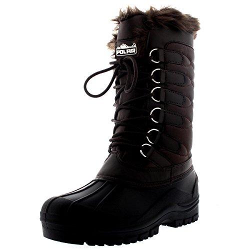 Polar Damen Nylon Kaltes Wetter IM Freien Schnee Ente Winter Regen Pelz Cuff Lace Stiefel - Braun - BRO42 AYC0134 (Winter-wetter-stiefel)