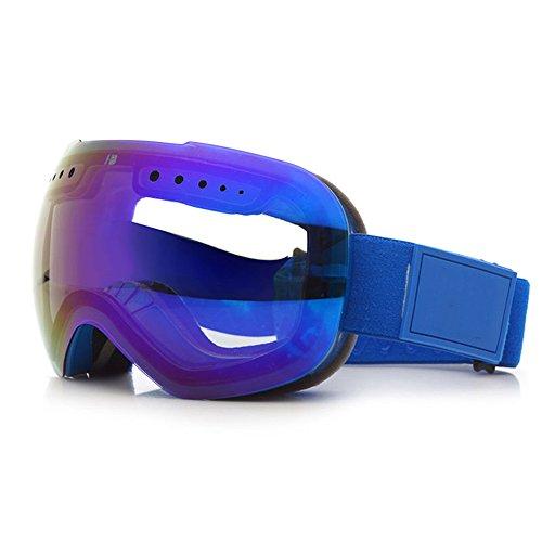 LYLhmj Skibrille Outdoor-Sport Snowboard-Schutzbrillen mit Anti-Nebel UV-Schutz Austauschbare sphärische rahmenlose Linse, winddicht Ski-Schutzbrillen für Motorrad Fahrrad Skifahren Skaten (Blau)