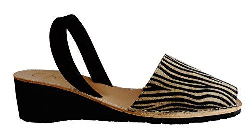Menorquinas Avarcas. Plate-forme / coin 4.8cm . Zebra et léopard, avarcas menorquínas. Zebra oscura con tira negra
