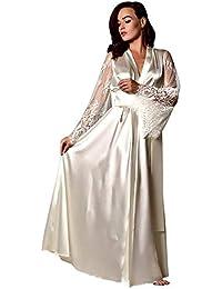 3fec82a692 VECDY Mujeres Suaves Pijamas Satén Camisón Largo De Seda De Encaje Ropa  Interior Camisón Ropa De