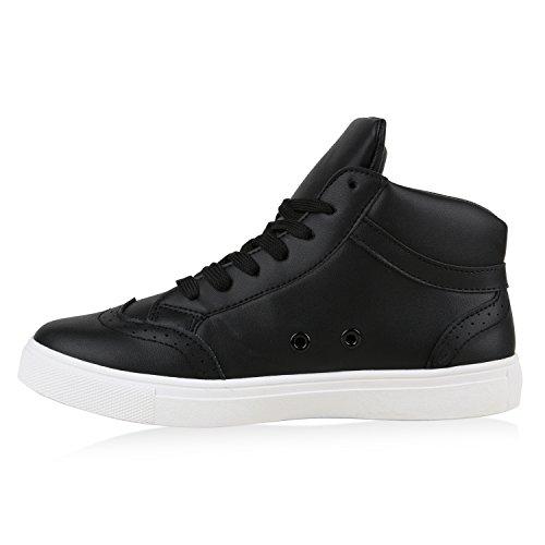 Damen Sneakers Mini-Keilabsatz Sneaker Wedges Freizeit Schuhe Schwarz