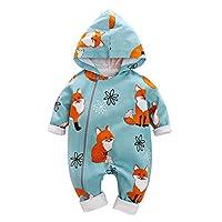 Baywell Infant Baby Boy Bodysuit Long Sleeve Fox Cute Print Hoodie Outfit Clothing Set Blue