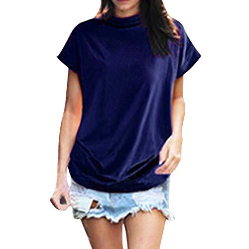 LEXUPE Frauen Rollkragen Kurzarm Baumwolle Solide Casual Bluse Top T-Shirt Plus ()
