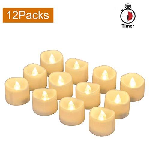 LED Kerzen, elektrische Kerzen Teelichter flammenlos inkl. Timer flackernd LED Kerzen 12 Stücke mit Batterie (warm weiß)