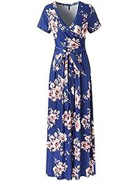 f815ccae7 Lover-Beauty Vestido Largo Floral Print Casual Verano para Noche Fiesta  Playa Fiesta Manga Corta