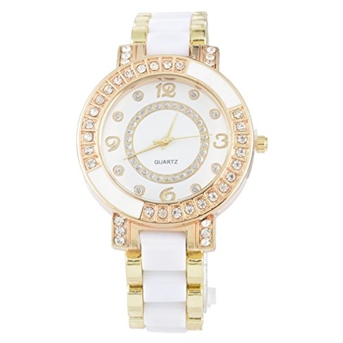 Souarts Gold Color Ceramics Rhinestone Quartz Wrist Watch White