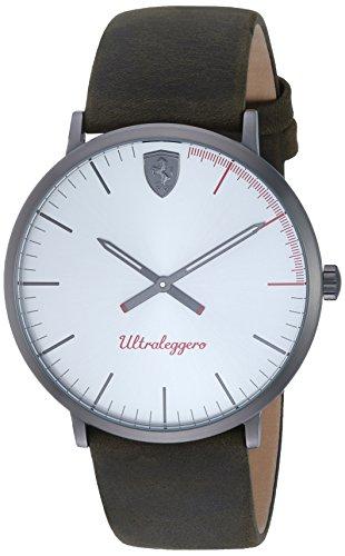 Scuderia Ferrari de Hombre 'ultraleggero Ultra Slim de cuarzo reloj Casual de piel y acero inoxidable, color: marrón (modelo: 0830408)