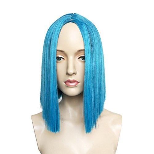 Namecute Kurze BOB Perücke Schwarz mix Blau Haar Perücken für Frauen ,Frei Perücke (Blue Kostüme Genie)