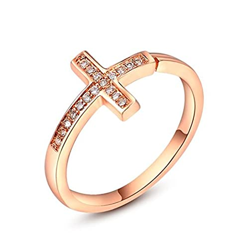 FJYOURIA Women's Adjustable Size Cross Shape Open Ring with Cubic