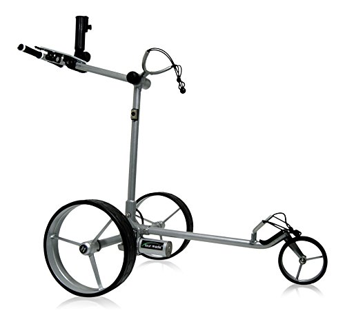Tour Made RT-610LI V2 Quickfold Lithium Elektro Golftrolley Golfcaddy - mit elektronischer Bergabfahrbremse - Differenzialgetriebe - leichter Aluminium Rahmen silber