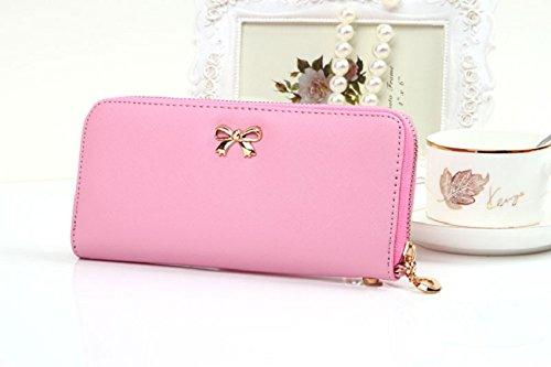 Chianrliu® Bowknot Geldbörse Damen Portemonnaie Damen Geldbeutel - Lang versch. Farben (Schwarz) Pink