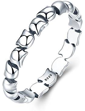 New 925Sterling Silber Katze Love Fashion Hochzeit Ring Band für Frauen Mädchen Weihnachten Geschenk
