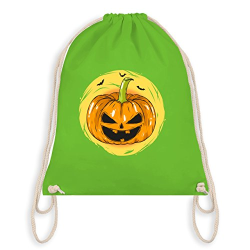 Halloween - Halloween Kürbis Gesicht - Turnbeutel I Gym Bag Hellgrün