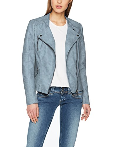 ONLY Damen Jacke Onlava Faux Leather Biker Otw Noos, Blau (Faded Denim Faded Denim), X-Large (Herstellergröße: 42)