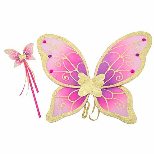 Lucy Locket Feenflügel und Zauberstab Kinderkostüm Set – Gold Violette und Rosa Schmetterlings Flügel für Kinder (3-10 jahre)