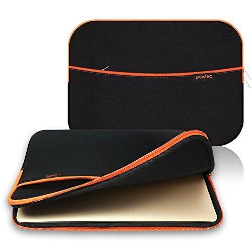 Pawtec Laptop Tablet Neopren Schutzhülle Aufbewahrung Tragetasche Sleeve mit Tasche mit extra Stauraum schwarz Black 12 inch MacBook -
