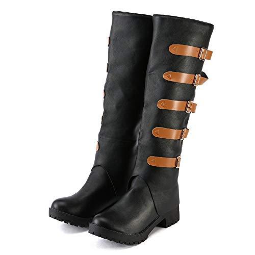 Hffan Damen Mädchen Flache High-top Retro-Stil Coole Biker Boots Schön Elegant Modisch Schuh Hohe Lange Stiefel Langschaft Stiefel Langschaftstiefel Herbst und Winter(Schwarz,43)