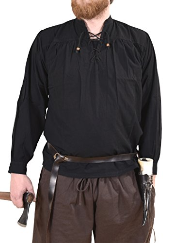 Battle Merchant Mittelalter-Hemd Ludwig, schwarz LARP-Kleidung Größe XXL