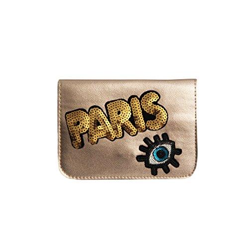 sweet deluxe 06466 Damen Handtasche für jeden Anlass | Handtaschen zum Umhängen | Geschnkidee für Sie Paris | Coffee Gold