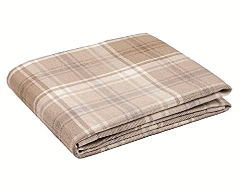 McAlister Textiles Angus | Long Shabby Chic Thick Tartan Check Natural Beige Brown & White Bed Spread Sofa Runner Throw | 130 x
