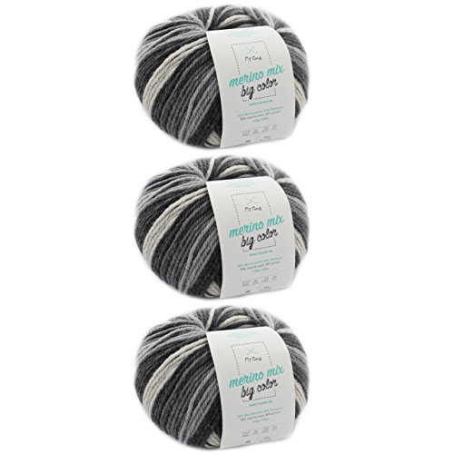 Farbverlaufsgarn häkeln * 3 Knäuel Merino Mix big Color classic (Fb 5000) * Wolle Farbverlauf 100g/150 m + GRATIS Label - Effektgarn häkeln Nadelstärke 6-7 mm - Wolle schwarz weiss meliert MyOma
