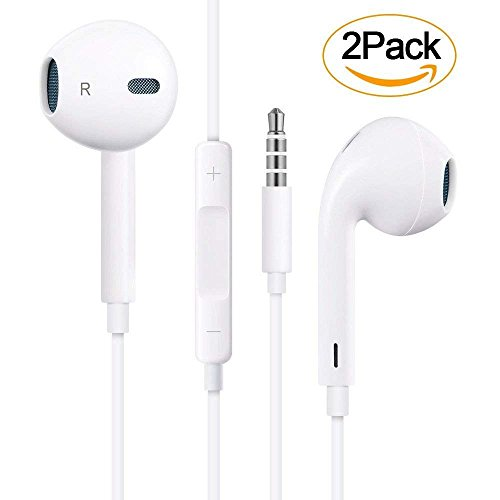 【2 pacchi】auricolari con microfono in ear auricolari stereo e cuffie a isolamento acustico per apple iphone 6 6s plus 5s 5c 5 se ipod ipad e altri dispositivi con jack audio